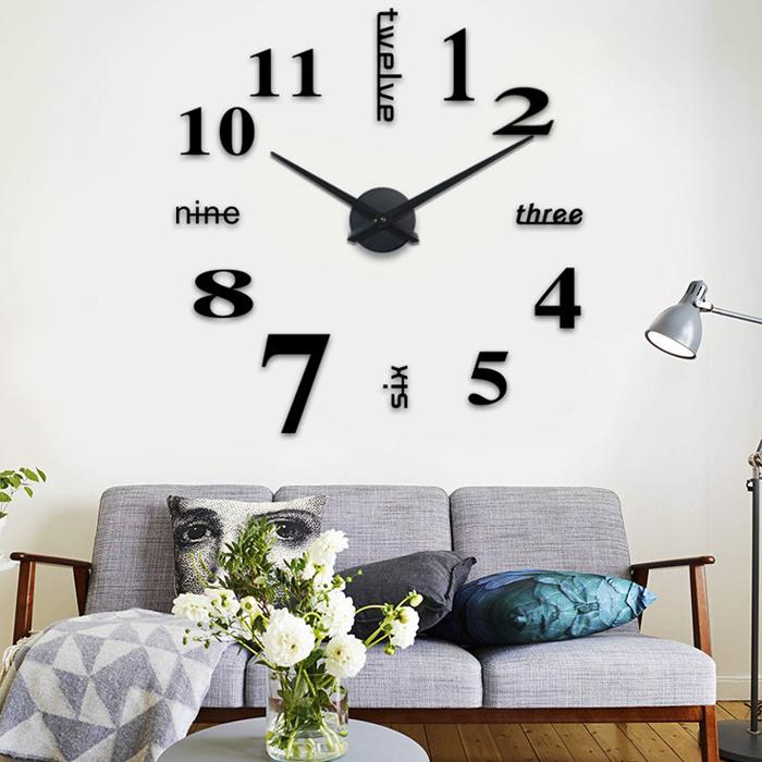 schwarze riesen designer wanduhr aus acryl wandtatoo xxl 3d diy neue kollektion. Black Bedroom Furniture Sets. Home Design Ideas