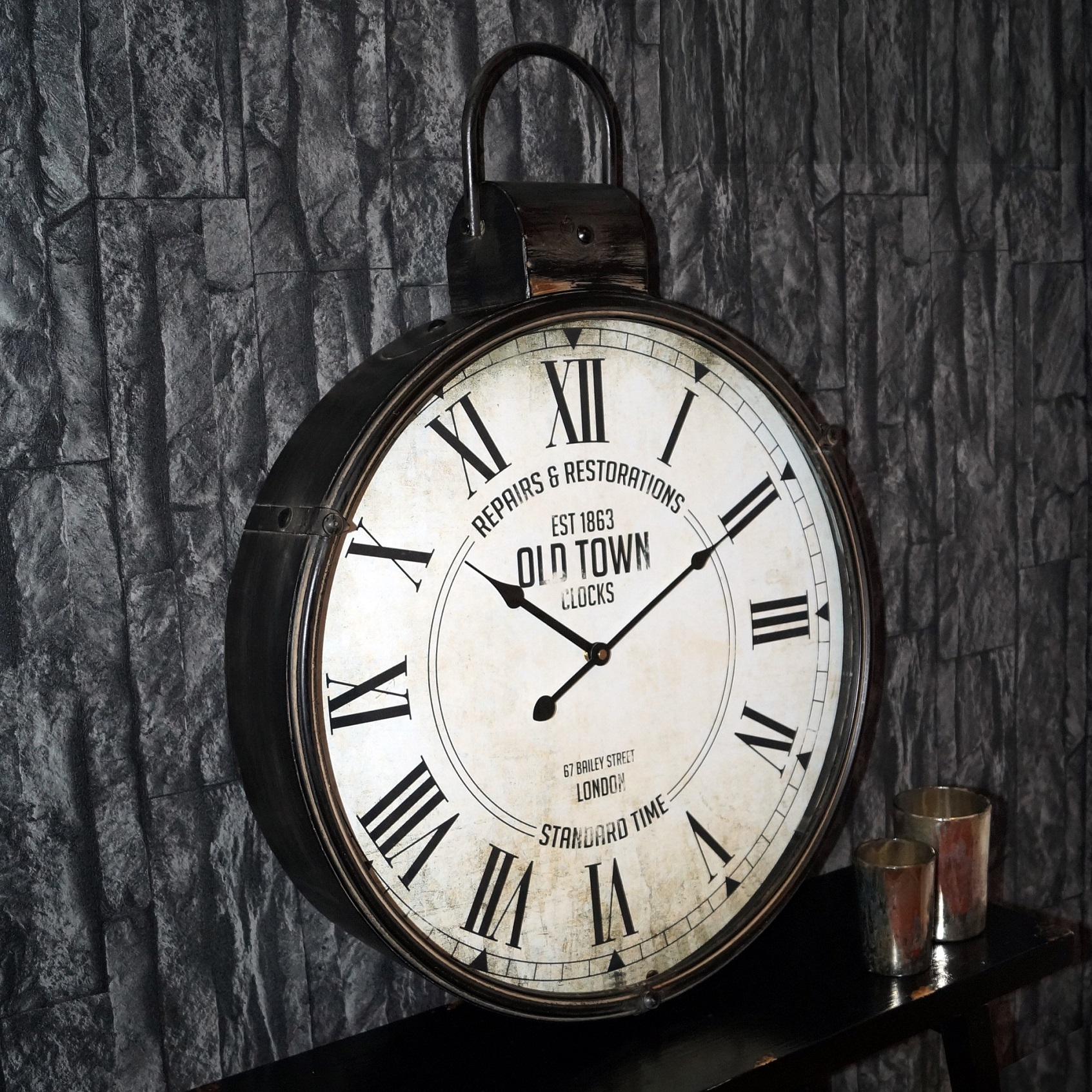 riesen vintage antike designer xxl wanduhr taschenuhr caja 50x65cm aus metall ebay. Black Bedroom Furniture Sets. Home Design Ideas