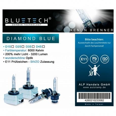 D1S BLUETECH® DIAMOND BLUE Xenon Brenner 6000 Kelvin 2er Set
