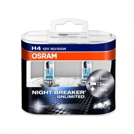 H4 OSRAM NIGHT BREAKER UNLIMITED Scheinwerferlampe +110% mehr Licht 2er Set
