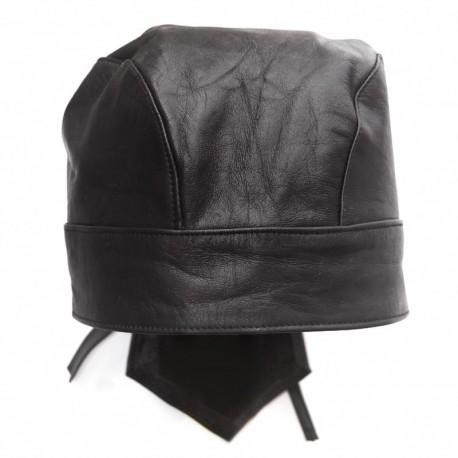 Schwarzes Leder Bandana / Flydanna / Kopfbedeckung
