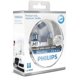 H1 Philips WhiteVision Xenon Effect Scheinwerferlampe 2er Set + 2x W5W