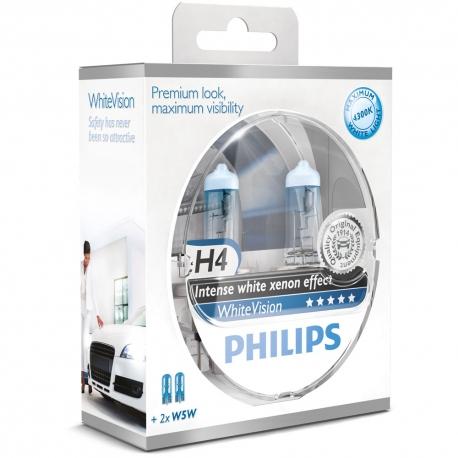 H4 Philips WhiteVision Xenon Effect Scheinwerferlampe 2er Set + 2x W5W