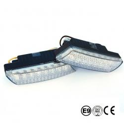 Ultra kleine universale LED Tagfahrleuchten / Tagfahrlichter mit 16 SMD LEDs R87 Modul E-Prüfzeichen & Dimmfunktion