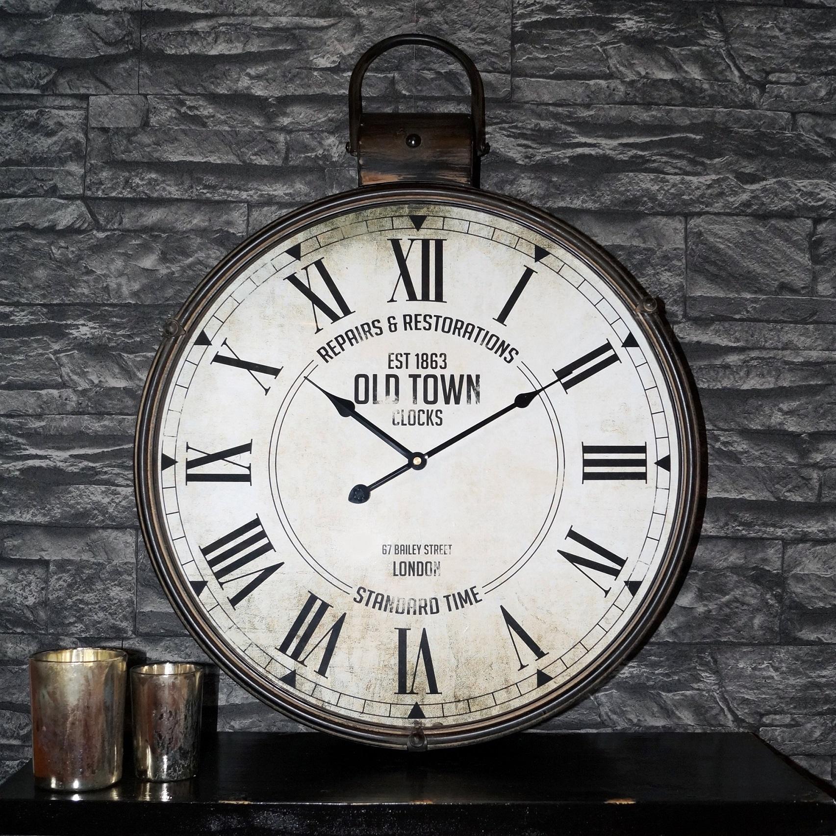 riesen vintage antike designer xxl wanduhr taschenuhr caja 50 x 65cm aus metall ebay. Black Bedroom Furniture Sets. Home Design Ideas